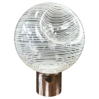 Large and Uncommon Italian Glass Globe Lamp Attributed to Venini For Sale