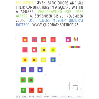 "2005 Sol LeWitt Large Original ""Seven Basic Colors and All Their Combinations in a Square Within a Square"" Josef Albers Museum Poster For Sale"