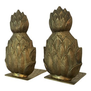 Pair of Mid-Century Brass Pineapple Bookends