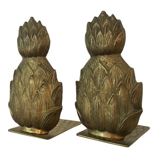 Pair of Mid-Century Brass Pineapple Bookends For Sale