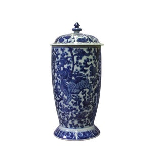 Chinese Blue White Porcelain Foo Dog Theme Urn Jar Container