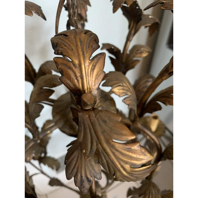 Metal Italian Gilt Bronze Metal SixLight Foliate Chandelier For Sale - Image 7 of 13
