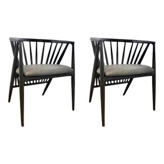 Modern Wood and Leather Spindle Barrel Back Chairs Pair For Sale