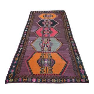 Handwoven Turkish Kilim Anatolian Flat Weave Purple Rug For Sale