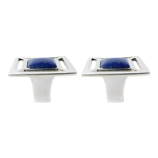 Addison Weeks Evans Knob, Nickel & Lapis - a Pair For Sale