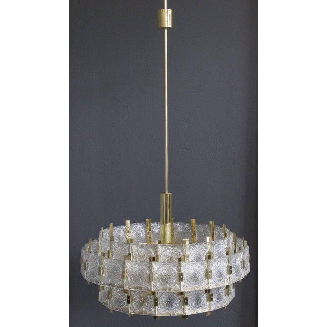 French Mid-Century Modern Brass Chandelier with Glass - Image 2 of 11