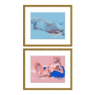Figure 11 & 12 Diptych by David Orrin Smith in Gold Frame, XS Art Print For Sale