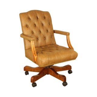 Tan Faux Leather Tufted Executive Office Desk Chair (B) For Sale