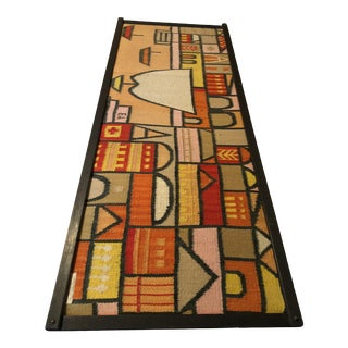 Vintage Mid-Century Mexican Handwoven Wool Framed Wall Hanging For Sale