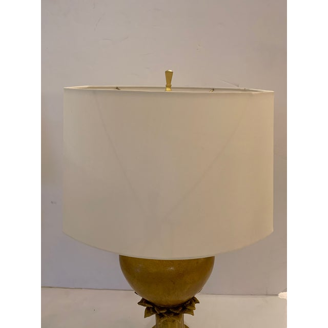 Vintage Ochre Jar Shaped Ceramic Table Lamps -A Pair For Sale - Image 10 of 13