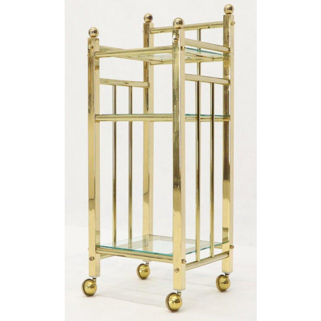 Mid-Century Modern Brass and Glass Square Stand Table Cart Pedestal on Wheels For Sale - Image 13 of 13