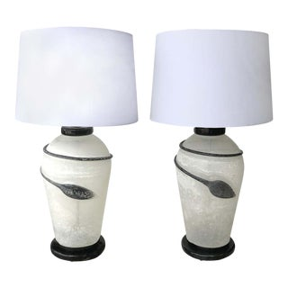 1980s Murano Seguso Scavo Glass Table Lamps on Lacquered Bases - a Pair For Sale