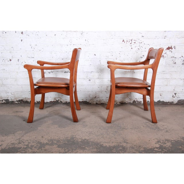 1960s 1960s Sculpted Solid Teak and Leather Studio Crafted Club Chairs - a Pair For Sale - Image 5 of 13