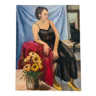 Vintage Portrait Scene Painting For Sale
