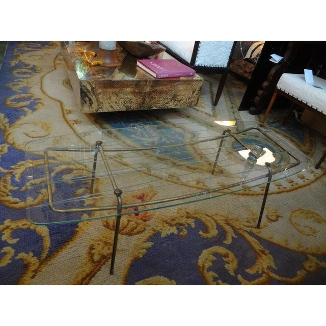 1940s Italian Gio Ponti Inspired Brass and Glass Coffee Table For Sale - Image 5 of 13