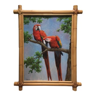 Large Two Parrots Bamboo-Framed Painting For Sale