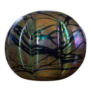 Vintage Brian Maytum Violet & Green Iridescent Paperweight For Sale