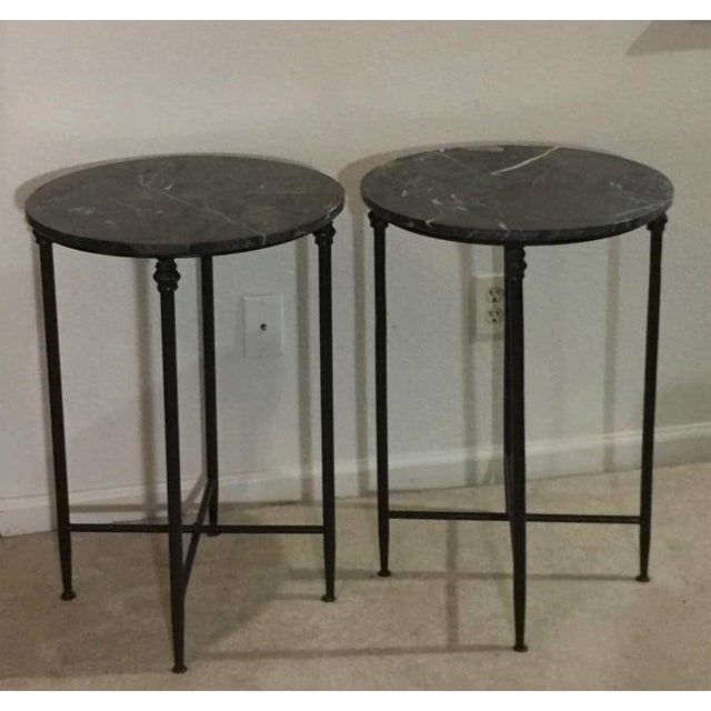 Metal Mid Century Modern Black Metal and Black Marble Round Accent Tables - a Pair For Sale - Image 7 of 7