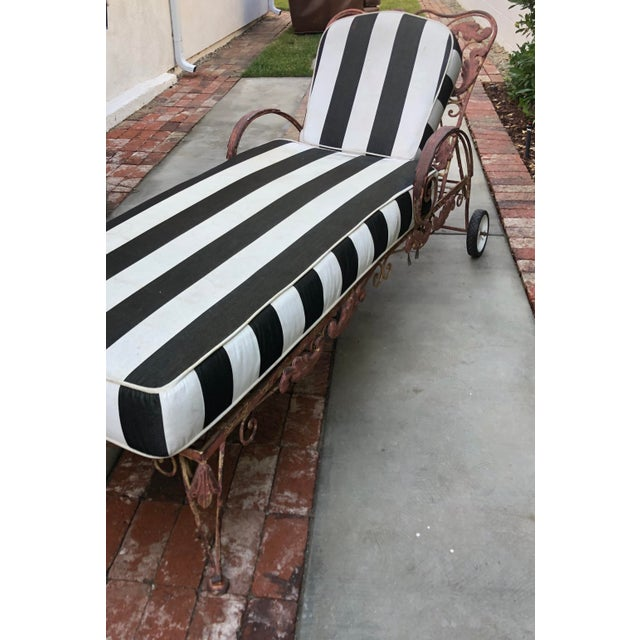 Mid-Century Wrought Iron Outdoor Chaise Lounge Chair 1 of 2 Available For Sale - Image 4 of 5