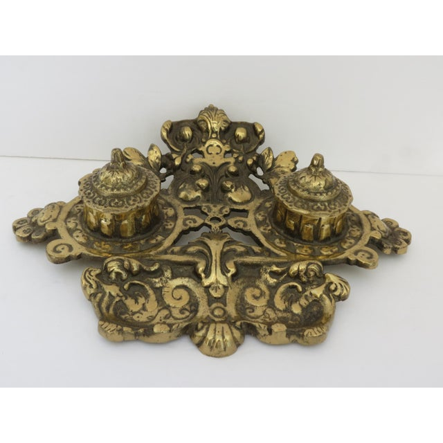 1940s Vintage Brass Inkwell For Sale - Image 5 of 5