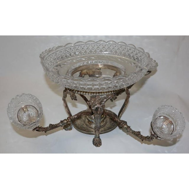 Bohemian Cut Crystal & Silver Centerpiece - Image 2 of 10