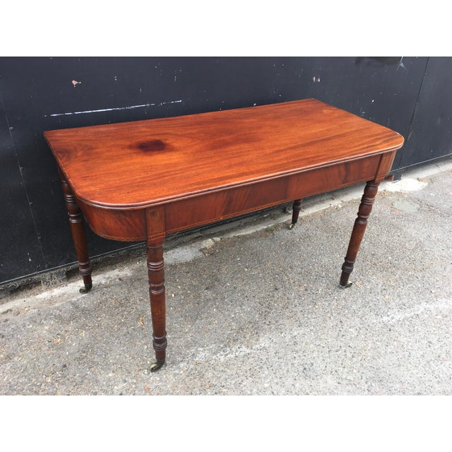 American Classical Antique English Walnut Writing Desk on Brass Casters For Sale - Image 3 of 11