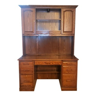 Executive Solid Wood Desk With Hutch For Sale