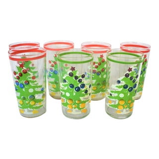1980s Vintage Christmas Tree Glasses - Set of 7 For Sale