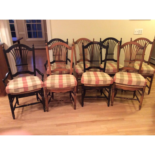 Wood Wheat Back Dining Chairs With Rush Seat - Set of 8 ...