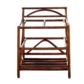 1970's Boho Chic 3 Tiered Counter Height Thick Rattan Etagere For Sale