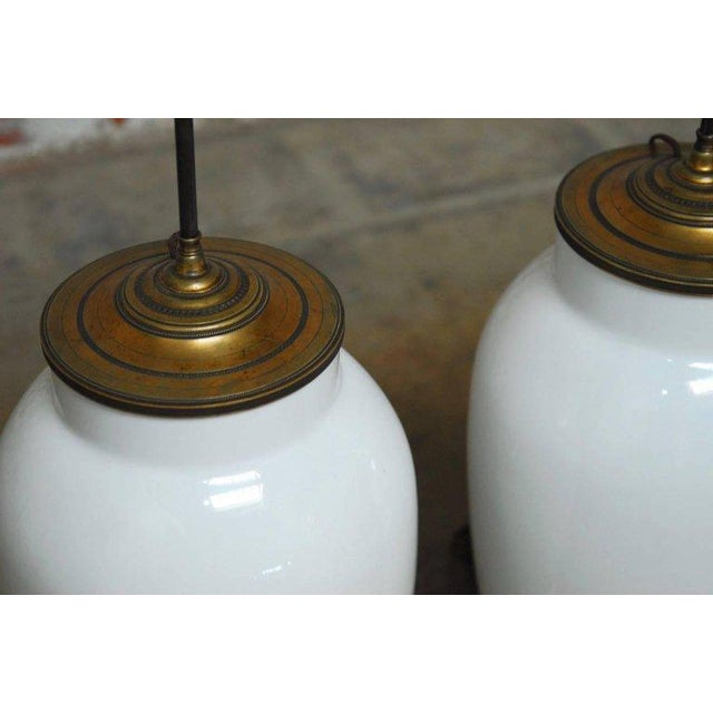 Early 20th Century Blanc de Chine Baluster Form Table Lamps - A Pair For Sale - Image 5 of 9