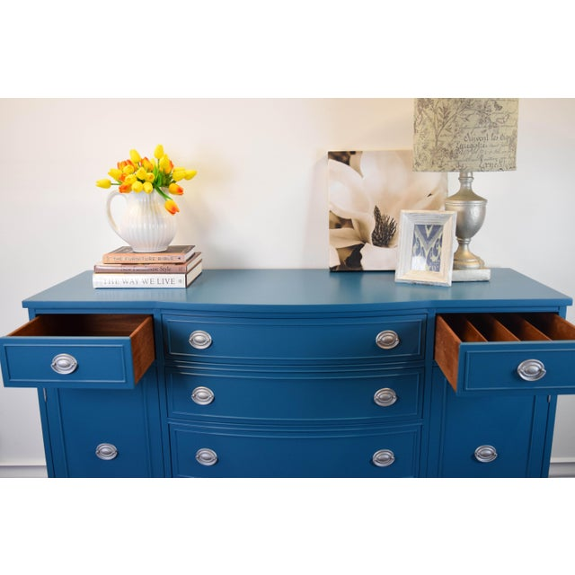 Teal Blue and Silver Sideboard For Sale - Image 9 of 11