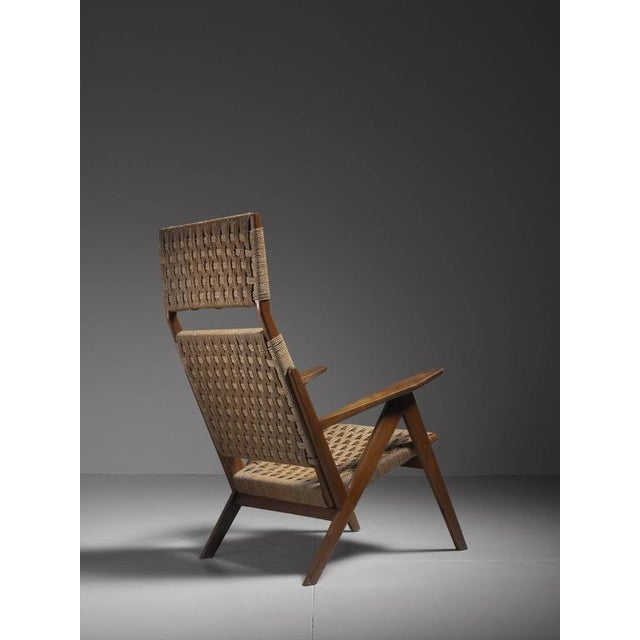 Mid-Century Modern Georg Jensen High Back Mahogany and Rope Lounge Chair, 1967s For Sale - Image 3 of 6