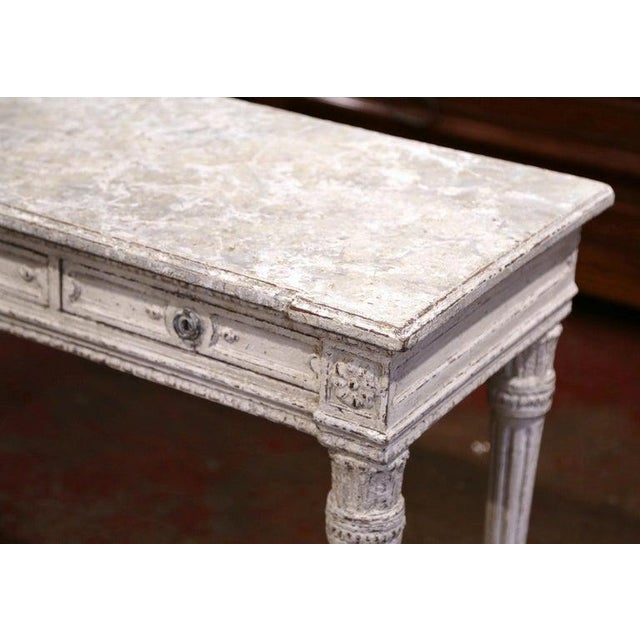 19th Century French Louis XVI Carved Painted Table Console For Sale In Dallas - Image 6 of 13