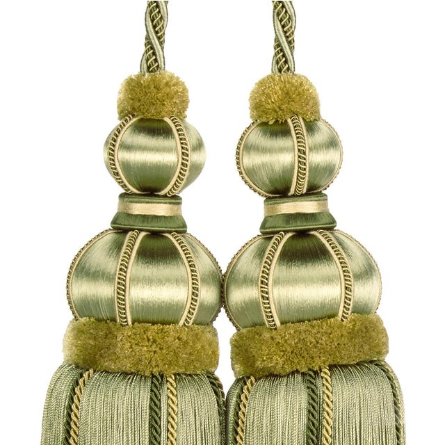 "2010s Double Tassel Tieback With Cut Ruche- Tassel Height 17"" For Sale - Image 5 of 8"