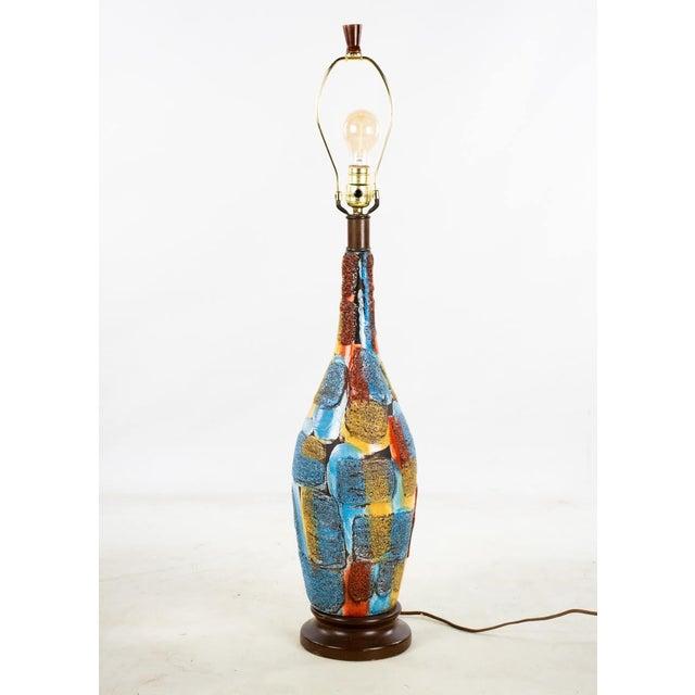Mid-Century Modern Mid-Century Modern Italian Volcanic Glazed Pottery Ceramic Table Lamps - Set of 2 For Sale - Image 3 of 13
