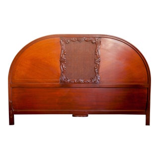 Antique Half Moon Carved Picture Frame Caned Wood King Headboard For Sale