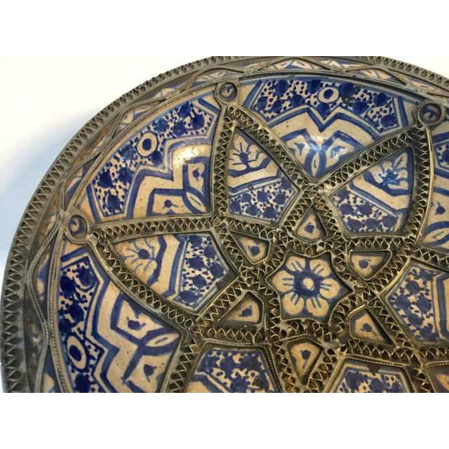 Islamic Decorative Moroccan Blue and White Handcrafted Ceramic Bowl From Fez For Sale - Image 3 of 12