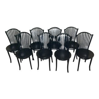 Thonet Black Bistro Chairs by Fmg, Set of 8