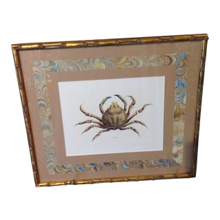 Crab Hand-Colored Framed Lithograph Print For Sale
