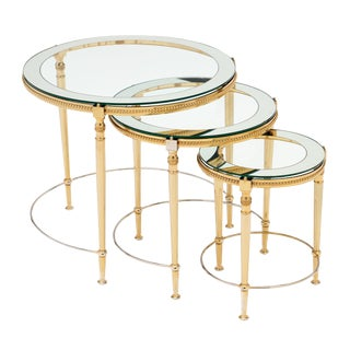 Round Glass and Brass Antique Nesting Tables - Set of Three For Sale