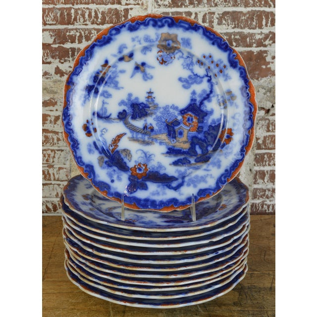 19th Century English Ironstone Blue and White Chinoiserie Plates- Set of 12 For Sale - Image 13 of 13