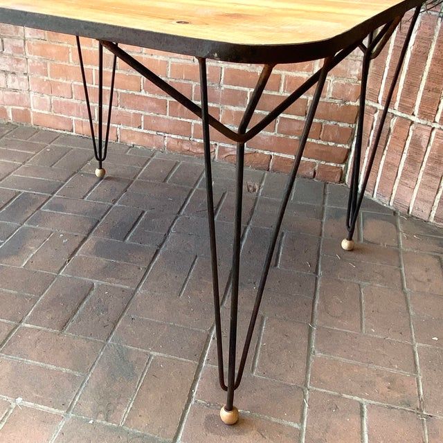 1950s Mid-Century Modern Solid Wood & Hairpin Iron Leg Table For Sale In Phoenix - Image 6 of 8