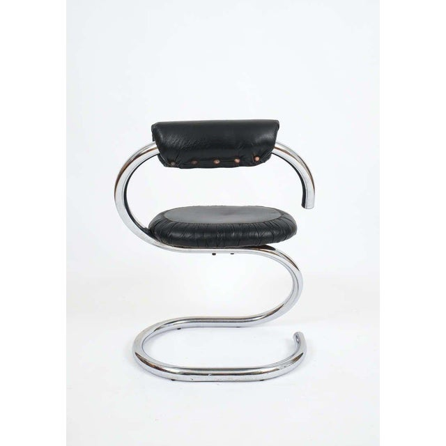 Animal Skin Set of Four Italian Leather Chrome Spiral Chairs by Stoppino For Sale - Image 7 of 10