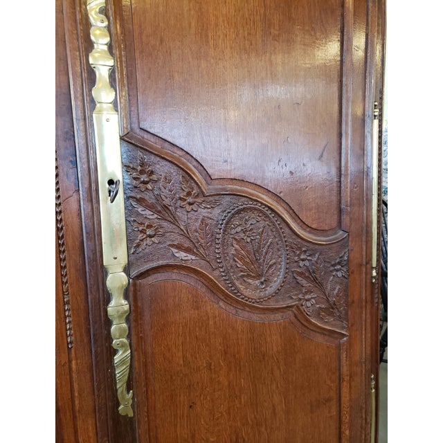 French Provincial French Provencal Carved Walnut Armoire For Sale - Image 3 of 13