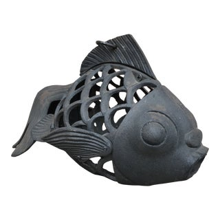 Wrought Iron Koi Fish Lantern Hanging Garden Sculpture For Sale