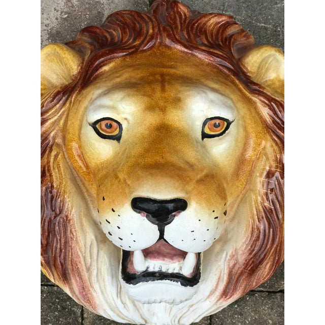 Magnificent Italian ceramic lion head wall sculpture. This exquisite, hand-made piece was part of a collection of African...