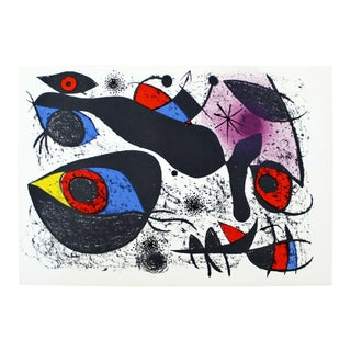 Mid Century Modern Unframed Joan Miro a l'Encre I 1972 Lithograph W CoA For Sale