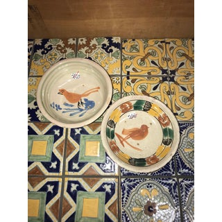 Antique Mexican Ceramic Pozole Bowls Hand Painted Birds Design - a Pair Preview