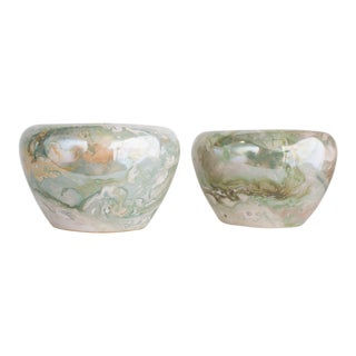 20th Century Boho Chic Marbled Opalescent Ceramic Planters - a Pair For Sale
